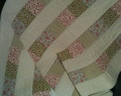 """Pink, Cream and Soft Spring Green, Come Together In Soothing Harmony in this 32"""" X 40"""" Quilt"""