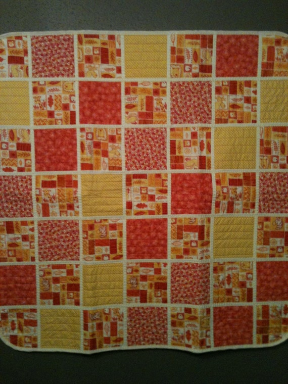 """Red, Orange, Yellow and White Jungle Themed Quilt 38"""" X 38"""""""