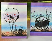 Mixed Media ORIGINAL Artworks in Acrylic Frames (Sold as a Pair)