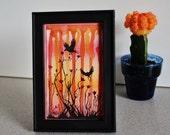 Sunset Birds - Mixed Media ORIGINAL in 4x6 Frame