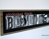 Large Mississippi State Bulldogs Alphabet Art Sign on Rustic Barnwood