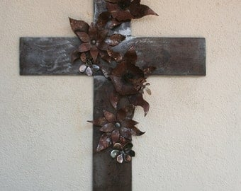 Cross Metal Wall Art Large with Hibiscus Flowers