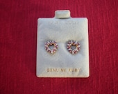 10k Yellow Gold Vintage 1980s Ruby and Diamond Heart Earrings