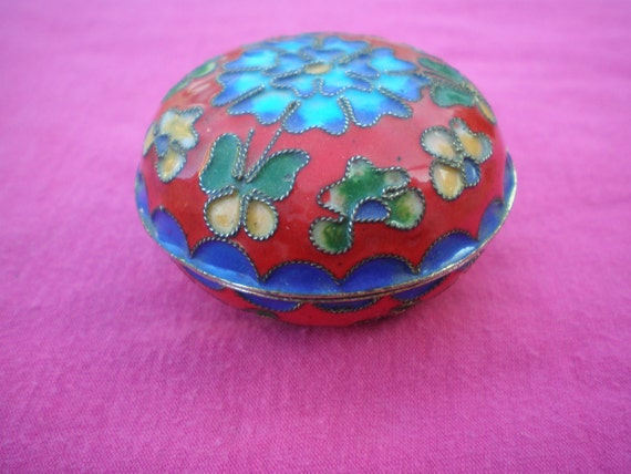 Red and Blue Flowers Cloisonne Trinket Box