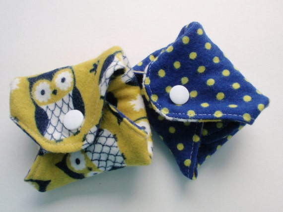 Set of 2 Reusable Cloth Menstrual Pads RTS Ready to SHIP Preppy Owl Last One
