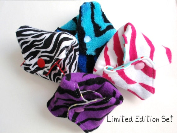 Set of 4 Reusable Cloth Menstrual Pads RTS Ready to SHIP Limited Edition Sassy Pants
