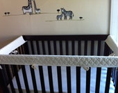Reserved for Tara -- ORGANIC Crib Guards -- 3pc Custom Crib Rail Teething Guards for Baby/Toddler in white w/ quilting