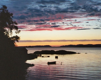 Norway Sunset, International Travel, Tysnes Cove, North Sea 5x7 Landscape Photograph