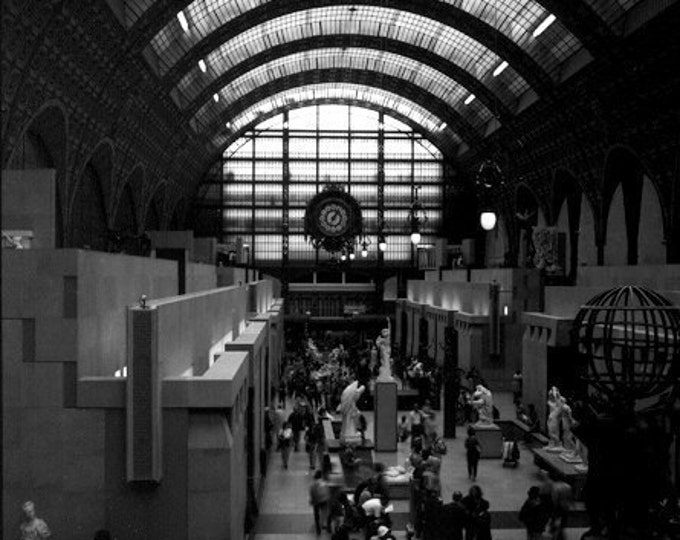Paris Wall Decor, Black and White Photography, Musee d'Orsay Architecture Interior, Parisian Interior, France Decor - 4 sizes available