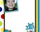Monster Print Your Own Boys Birthday Thank You Note