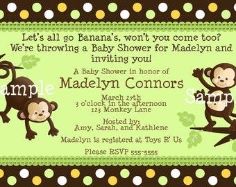 Pop Monkey Print Your Own Let's Go Banana's Baby Shower Invitation