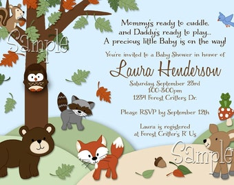 Forest Critters Print Your Own Woodland Animals Baby Shower Invitation
