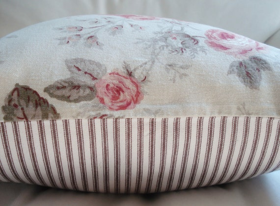 SALE Brown Ticking & Rose Pillow Cover -- for 16 x 16 pillow