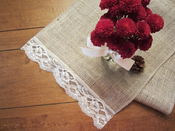 """Custom Order for Cindy -- Burlap Table Runner with Vintage Lace, 18"""" x 72"""""""