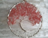 Pink Cherry Quartz and Sterling Silver Tree of Life Pendant  MADE TO ORDER