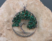 Malachite and Sterling Silver Tree of Life Pendant - READY TO SHIP
