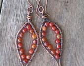 Carnelian and Copper Leaf Shaped Dangle Earrings Fall Fashion - READY TO SHIP
