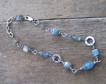 Labradorite and Sterling Silver Wire Wrapped Bracelet  MADE TO ORDER