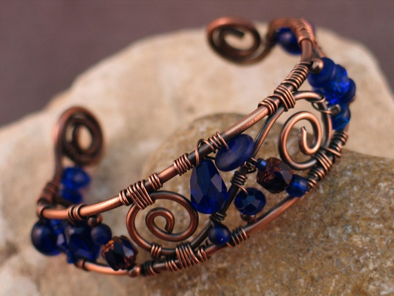 Wire Wrapped Copper and Cobalt Blue Bracelet READY TO SHIP