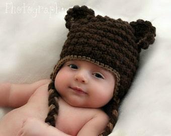 Beary Warm Beanie CROCHET PATTERN instant download - bear earflap hat