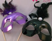 Photobooth Props - Masquerade Masks on a Stick - Set of 4