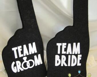 Photobooth Props - Charcoal Black Team Bride & Team Groom Foam Fingers