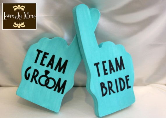 Photobooth Props - Blue Team Bride & Team Groom Foam Fingers