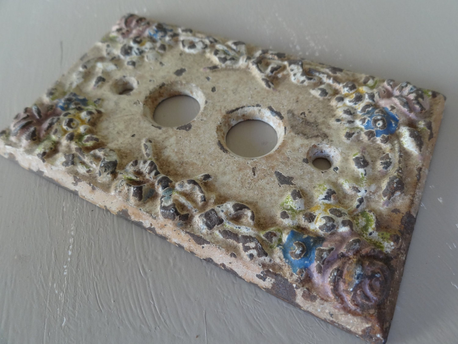 Victorian Push Button Switch Plate Cover Cast Iron Hardware
