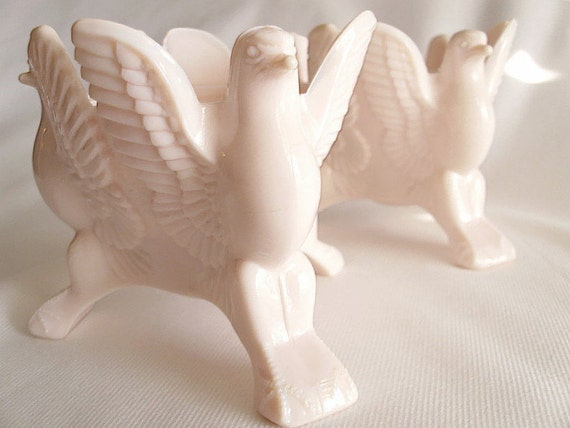 Pair of Jeanette Pink Milk Glass Eagle Candle Holders