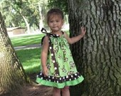Toddlers Dresses   Monkey's Polka Dots TWO ruffles bow tie