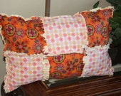 Rag Quilt Pillow Decorative Pillow Accent Pillows, Throw Pillow Cushion Covers 14 X 20