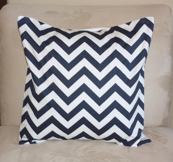 1 - 18 inch Navy and White Designer  Pillow Covers  Navy and White Chevron Zig Zag