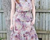70's 2 Piece Sheer Floral Dress
