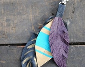 Hand Painted Leather Feather Bag Charm