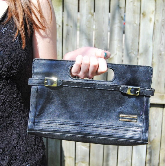 Vintage Black Leather Classy Clutch// Berman's Purse