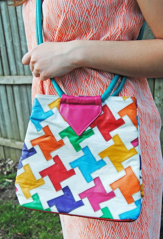 Bright Multi Colored Leather Patchwork Vintage Purse