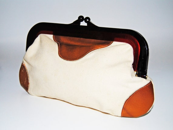 Canvas and Leather Summer Vintage Clutch// 60s 70s