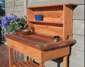 Potting Bench - Faucet - Sink & Shelf With Blue or Brown Glass Tile. (please specify color on your order)