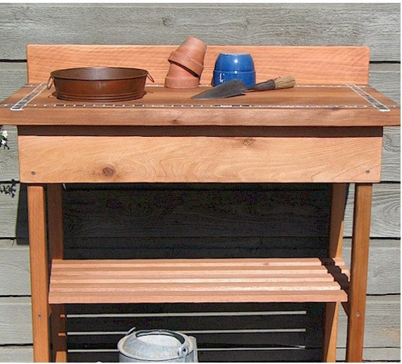 Potting Bench (Lg) w 'Rusty' Wash Basin Inlaid Tile
