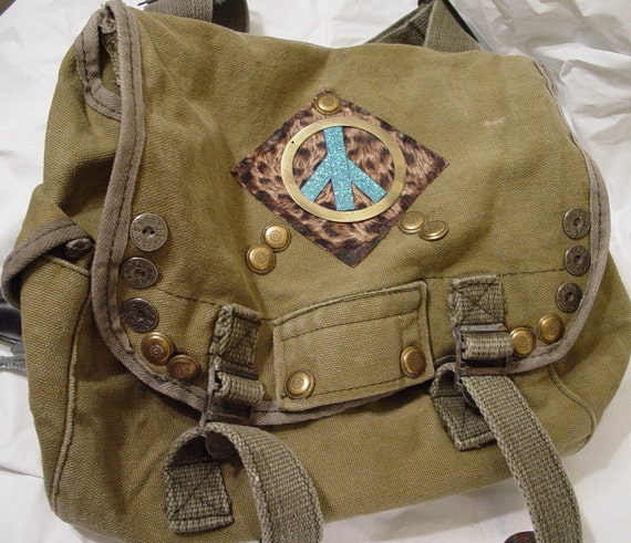 Upcycled Vintage MILITARY BACKPACK, iPad Bag Peace Sign, 43 dollars plus shipping