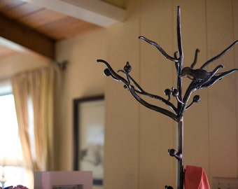 Wrought Iron Bird and Branch Coat Rack