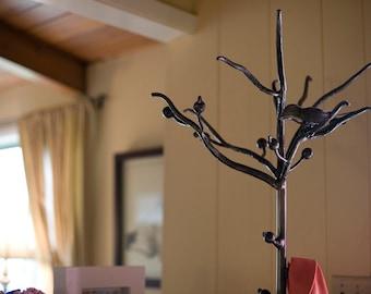 Wrought Iron Bird And Branch Coat Rack
