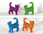 TWO Colorful Glitter Kitties YOU PICK Colors. Gift Set of 2 Cats. For Spring Wedding Table Decorations, Nursery Decor or Birthday Parties