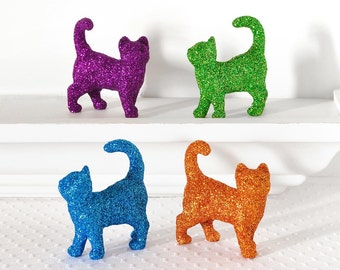 Colorful Glitter Kitties YOU PICK Colors. Gift Set of two Cats. For Spring Wedding Table Decorations, Nursery Decor or Birthday Parties
