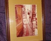 Framed Art / Vintage / Winding Road / Matted / Glass / Framed