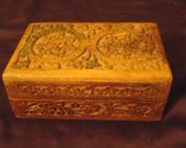 Carved Wooden Box / Keep Sake / Intricate Carving / Blue Lined