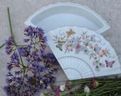 Vintage Ceramic Fan Trinket Box