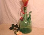 Blown Glass Sculpture / Jug / Spout / Grasswork / Vintage Treasure/ Wine dispenser