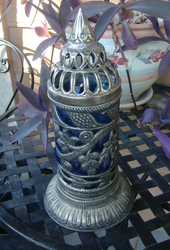 Sculpted Glass and Metal Lantern / Moroccan Glamour / Vacation / Glow / Vintage