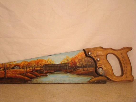 Tole Painted Landscape Saw / Fall Scene /River Bridge Tree Forest Farm / Signed Artwork